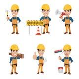 Uppsättningen av byggnadsarbetaren Character i olika 6 poserar Arkivbild