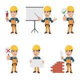 Uppsättningen av byggnadsarbetaren Character i olika 6 poserar - Vol 2 Royaltyfria Bilder