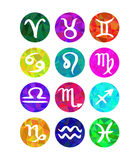 Uppsättningen av calligraphic zodiak undertecknar, horoskopsymboler Polygonal stil Royaltyfri Bild