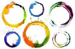 Uppsättningen av cirkelakryl och den målade vattenfärgen planlägger beståndsdelen Arkivfoto