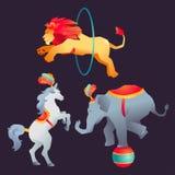 Uppsättningen av cirkusen utbildade vilda djurkapacitet som isolerades på vit Royaltyfri Bild