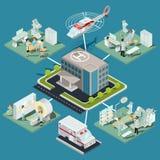 Uppsättningen av 3D sänker isometriska illustrationer av byggnads- och läkarundersökninglokal för medicinsk klinik med den lämpli royaltyfri illustrationer