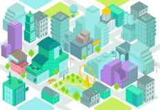 Uppsättningen av de isometriska stadsbyggnaderna, shoppar, parkerar, affärsmitten, beståndsdelar Fotografering för Bildbyråer