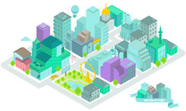 Uppsättningen av de isometriska stadsbyggnaderna, shoppar, parkerar, affärsmitten, beståndsdelar Arkivbild