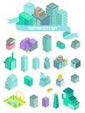 Uppsättningen av de isometriska stadsbyggnaderna, shoppar, parkerar, affärsmitten, beståndsdelar Arkivfoton