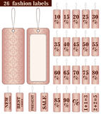Uppsättningen av de 26 modeetiketterna i rosa färger färgar Arkivfoton