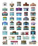 Uppsättningen av de plana stadsbuildingssna och shoppar stock illustrationer