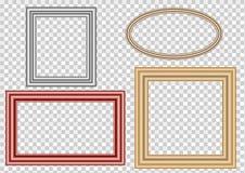 Uppsättningen av dekorativ tappning inramar, och gränser ställer in, den guld- fotoramen med den hörnThailand linjen som är blom- stock illustrationer