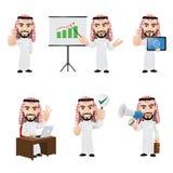 Uppsättningen av den arabiska affärsmannen Character i olika 6 poserar Arkivfoto