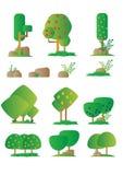 Uppsättningen av den blom- beståndsdelen för den olika tecknade filmen i plan design, buskar, träd, vaggar Videospel stock illustrationer