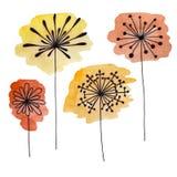 Uppsättningen av den drog abstrakta svarta handen blommar på vattenfärgfläckar i klotterstil Vektorillustration EPS10 Royaltyfri Bild