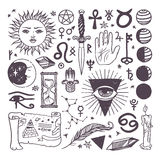 Uppsättningen av den esoteriska symbolsamlingen för den moderiktiga vektorn skissar den drog handen stock illustrationer