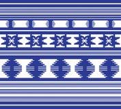 Uppsättningen av den etniska prydnadmodellen i blått färgar Fotografering för Bildbyråer