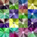 Uppsättningen av den färgrika abstrakt begreppspiralen centraliserade ljusa bakgrunder Royaltyfria Foton