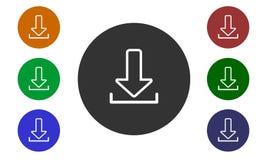 Uppsättningen av den färgrika runda symbolsnedladdningen på websites och fora och e-shoppar in den bildknappen och pilen på vit b vektor illustrationer