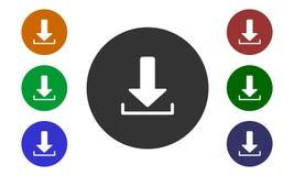 Uppsättningen av den färgrika runda symbolsnedladdningen på websites och fora och e-shoppar in den bildknappen och pilen som isol vektor illustrationer