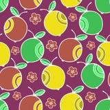 Uppsättningen av den färgrika tecknade filmen bär frukt äpplet seamless färgrik modell Royaltyfria Foton