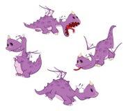 Uppsättningen av den gulliga violetta draken för dig planlägger cartoon vektor illustrationer