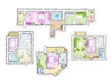 Uppsättningen av den inre lägenheten, skissar för din design Fotografering för Bildbyråer