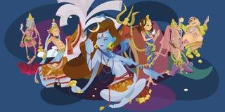 Uppsättningen av den isolerade hinduiska gudmeditationen i yoga poserar lotusblomma- och gudinnahinduismreligionen, traditionell  Arkivfoton