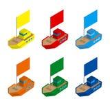 Uppsättningen av den kulöra isometriska leksaken 3d sänder med flaggor stock illustrationer
