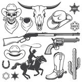 Uppsättningen av den lösa västra cowboyen planlade beståndsdelar Royaltyfri Foto