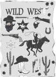 Uppsättningen av den lösa västra cowboyen planlade beståndsdelar Arkivbild