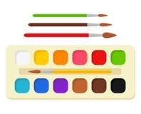 Uppsättningen av den ljusa vattenfärgen målar i ask med målarfärgborstar färgrik palett Hjälpmedel och tillbehör för formgivare royaltyfri illustrationer