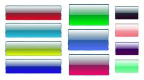 Uppsättningen av den mångfärgade rektangulära och fyrkantiga glass genomskinliga färgrika ljusa härliga vektorn knäppas med metal stock illustrationer