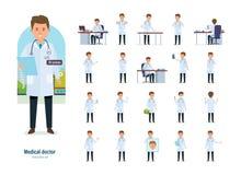 Uppsättningen av den medicinska doktorn för teckenet i olikt poserar Sjukvård hjälp royaltyfri illustrationer