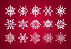 Uppsättningen av den olika boten snör åt snöflingor för jul Fotografering för Bildbyråer