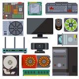 Uppsättningen av den olika elektronikapparatdatoren särar vektorn stock illustrationer