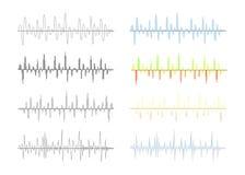 Uppsättningen av den olika motsvarigheten och den digitala signalen vinkar grafer på vit royaltyfri illustrationer