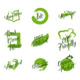 Uppsättningen av den organiska produkten, rå grön meny, naturliga 100, ECO-vänskapsmatchen, gluten frigör, strikt vegetarianmatgr Arkivbild