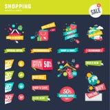 Uppsättningen av den plana designen förser med märke och etiketter för att shoppa stock illustrationer