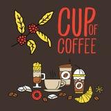 Uppsättningen av den plana linjen färgade plana kaffesymboler royaltyfri illustrationer