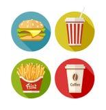 Uppsättningen av den plana symbolen med hamburgaren steker sodavatten och kaffe i pappers- kopp Royaltyfri Fotografi