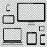 Uppsättningen av den realistiska datorbildskärmen, bärbara datorn, minnestavlan, mobiltelefon, ilar den klocka- och GPS navigerin Arkivfoto