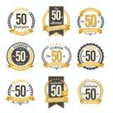 Uppsättningen av den Retro årsdagen förser med märke 50th årsberöm Arkivfoton