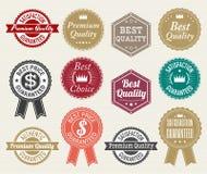 Uppsättningen av den retro etiketten för banret för kvalitets- och prisgarantietiketten förser med märke klistermärkebandet Royaltyfria Foton