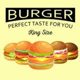Uppsättningen av den smakliga hamburgaren grillat nötkött och nya grönsaker som kläs med sås i bullen för mellanmålet eller lunch vektor illustrationer