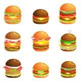 Uppsättningen av den smakliga hamburgaren grillat nötkött och nya grönsaker som kläs med sås i bullen för mellanmålet eller lunch stock illustrationer