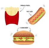 Uppsättningen av den snabba mat-varma hunden, hamburgare, steker arkivfoton