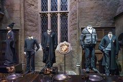 Uppsättningen av den stora Hallen som Hogwarts, LEAVESDEN, UK Royaltyfria Bilder