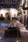 Uppsättningen av den stora Hallen som Hogwarts, LEAVESDEN, UK Royaltyfria Foton