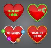 Uppsättningen av den sunda matsymbolen på hjärta formar. Arkivfoton