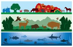 Uppsättningen av den svartvita vektorn landskap djurliv, lantgården, marin- liv Arkivbild