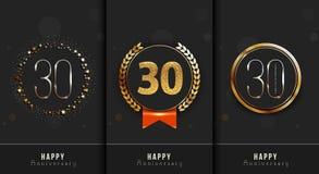 Uppsättningen av den 30th lyckliga årsdagen cards mallen Arkivbilder