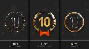 Uppsättningen av den 10th lyckliga årsdagen cards mallen Royaltyfri Foto