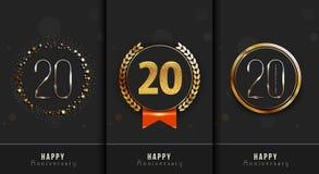 Uppsättningen av den 20th lyckliga årsdagen cards mallen Arkivbilder